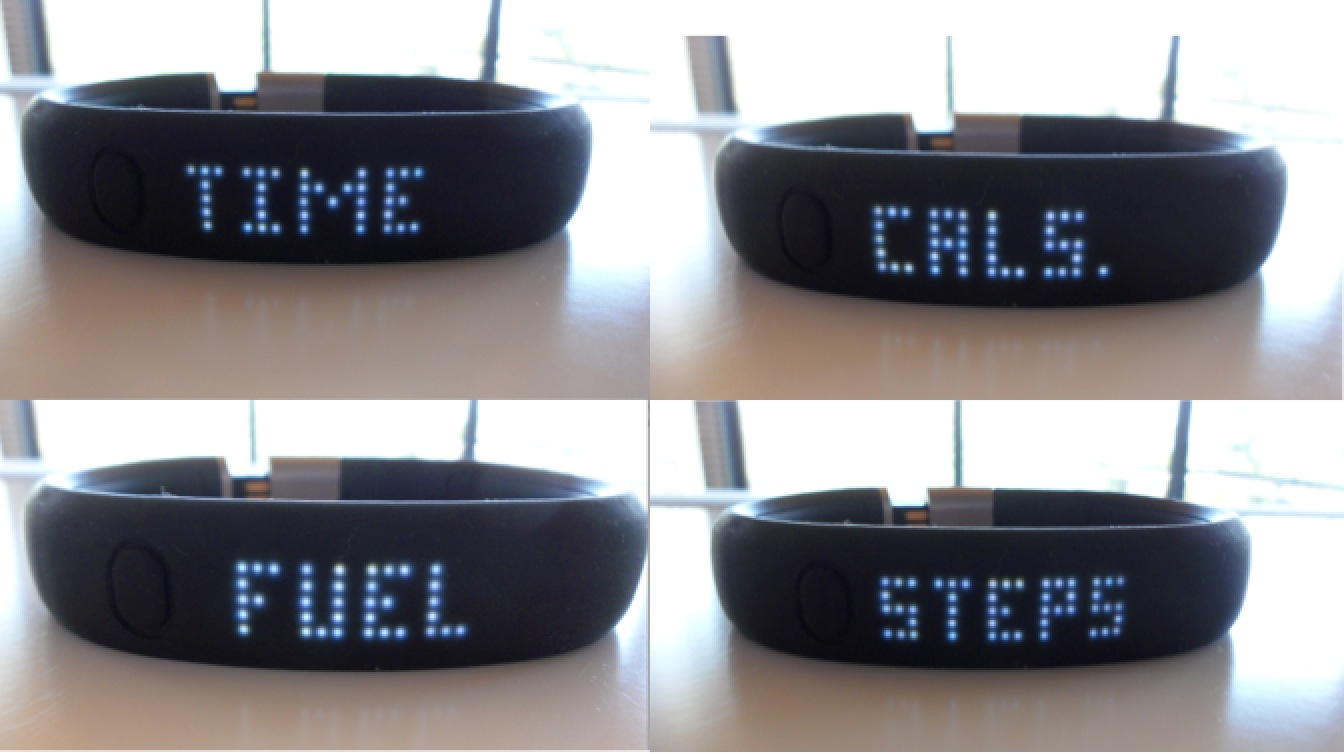 The four settings on the Nike+ FuelBand: Time, Fuel, Cals and Steps.