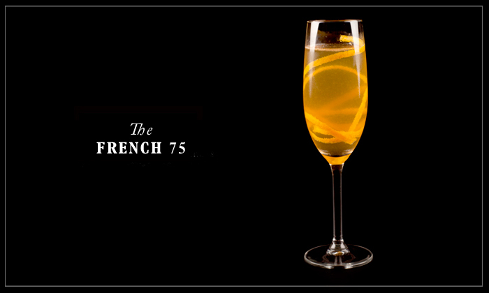 The perfect blend of gin, champagne, lemon and orange liqueur - the French 75.