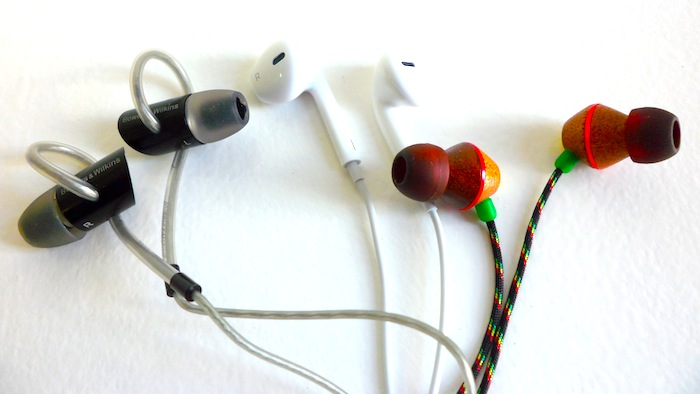 Testing the best Earphones for runners - the contestants: The New Apple Earpods™, The House of Marley People Get Ready™ In-Ear Headphones, The Bowers-Wilkins C5 In-Ear Headphones with Secure Loop design.