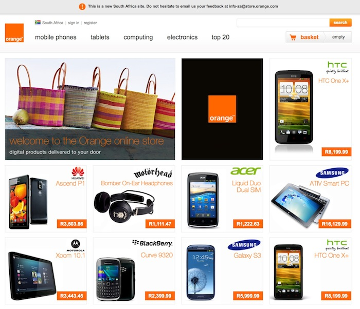 Browsing for the latest tech goodies, at affordable prices, on the new Orange SA online store.