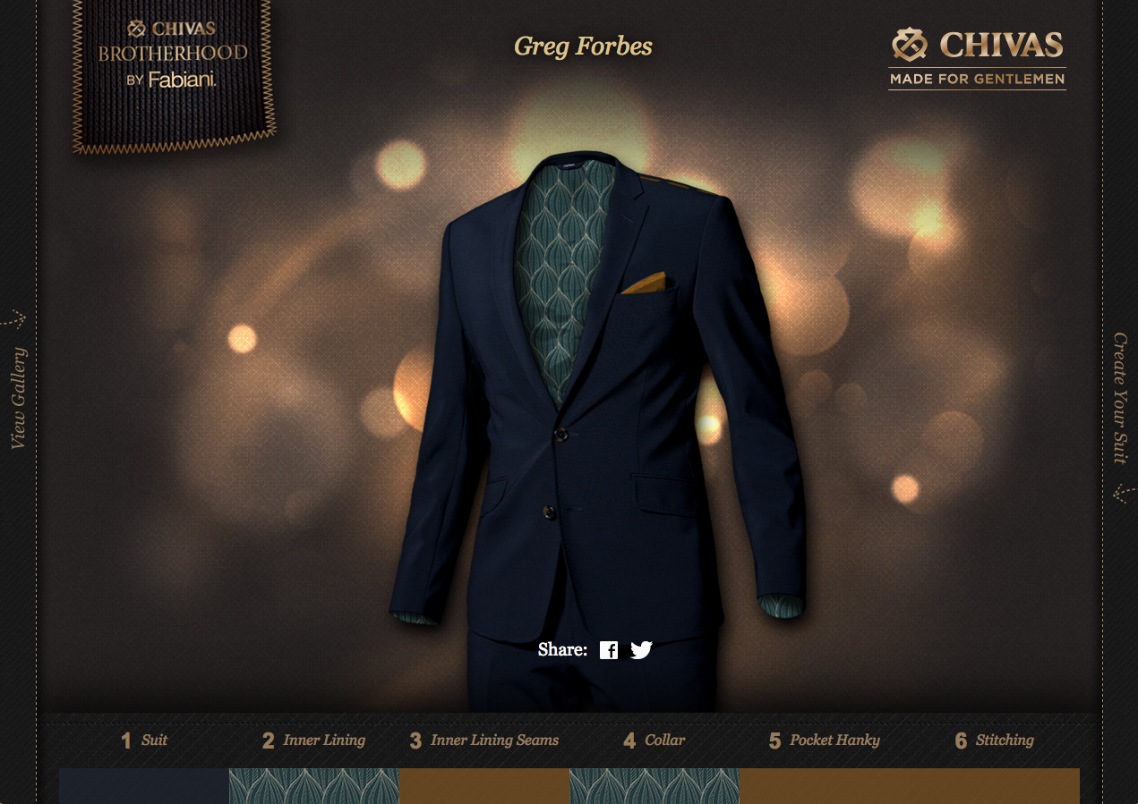 The suit I had some fun designing on the microsite