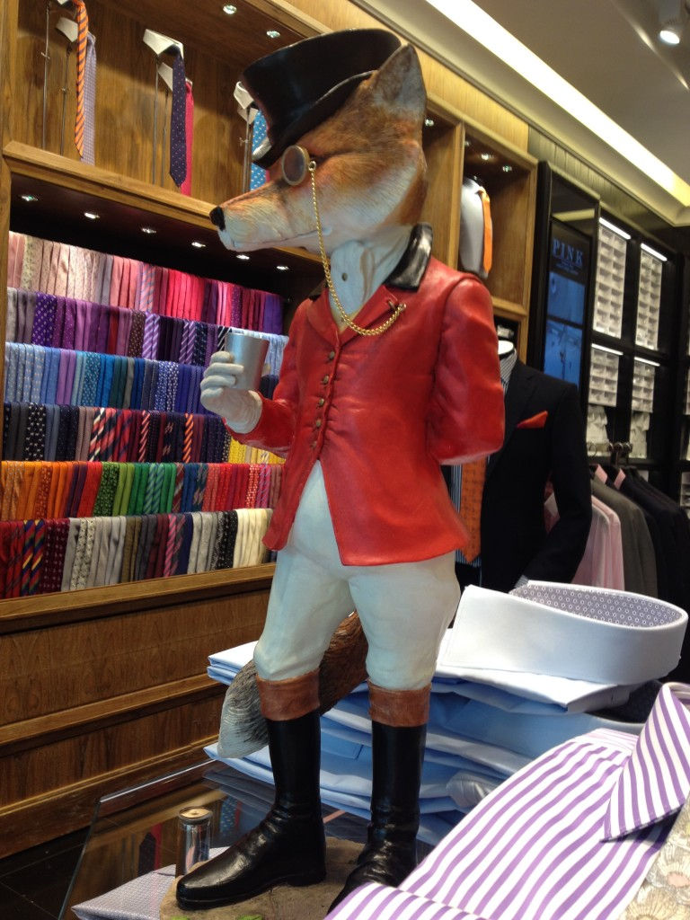 Pink's fox in the iconic red riding coat.