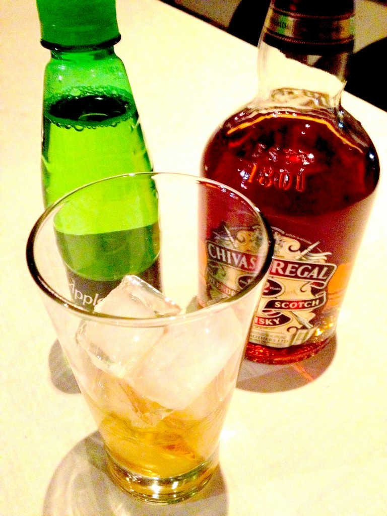A drink to knock you socks off. Chivas 12 and Appletizer on the rocks.