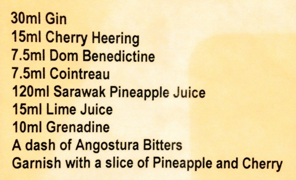 Here's the list of ingredients for the iconic Singapore Sling