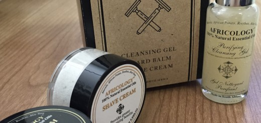 The Africology Shaving Kit, comprising the Cleansing Gel, Beard Balm and Shaving Cream.